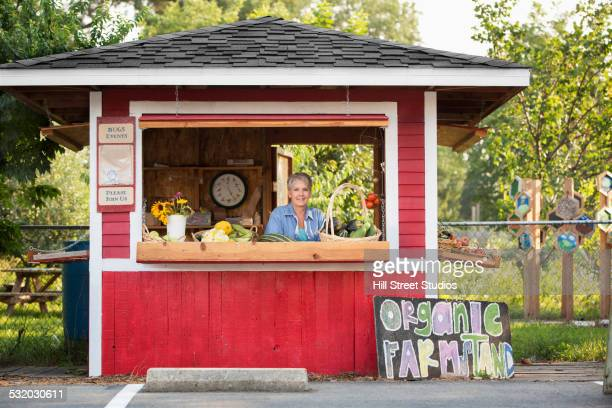 caucasian woman in organic farm stand - market stall stock pictures, royalty-free photos & images