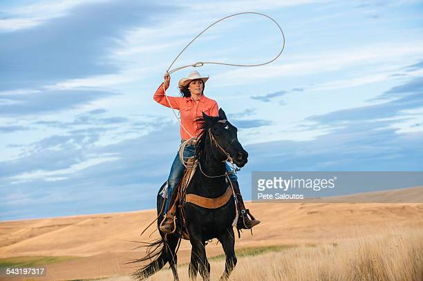 caucasian woman on horse throwing lasso in grassy field - lasso stockfoto's en -beelden