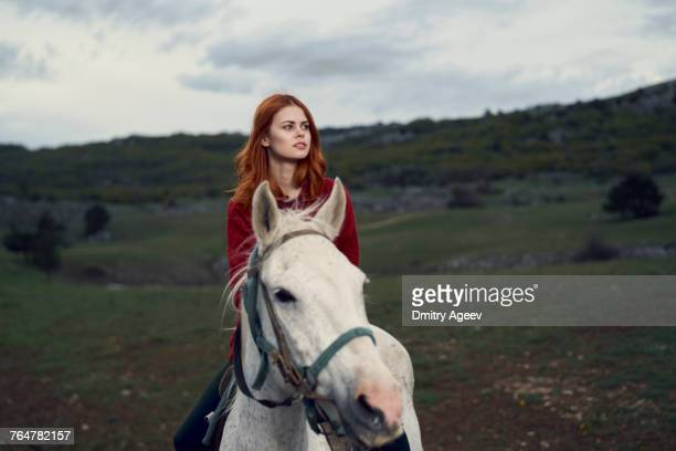 caucasian woman riding horse - dressage horse russia stock photos and pictures
