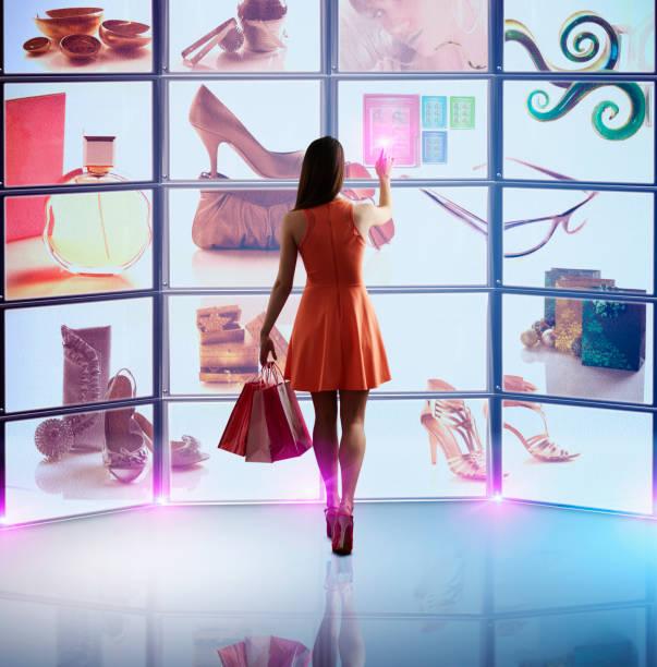 Caucasian Woman Shopping Online Wall Art