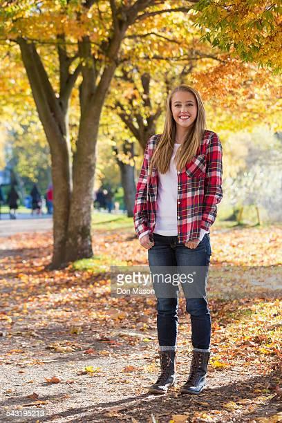 Caucasian woman smiling in park