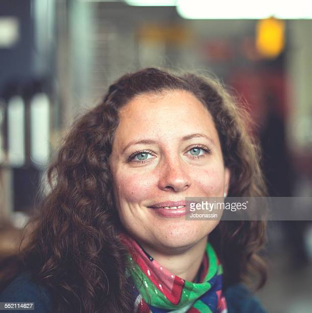 caucasian woman smiling looking relaxed - jcbonassin stock pictures, royalty-free photos & images