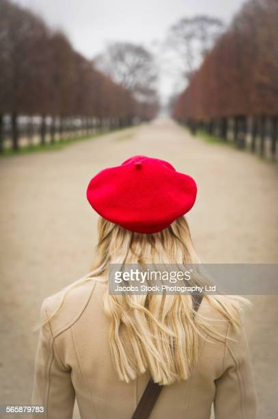Caucasian woman standing in park