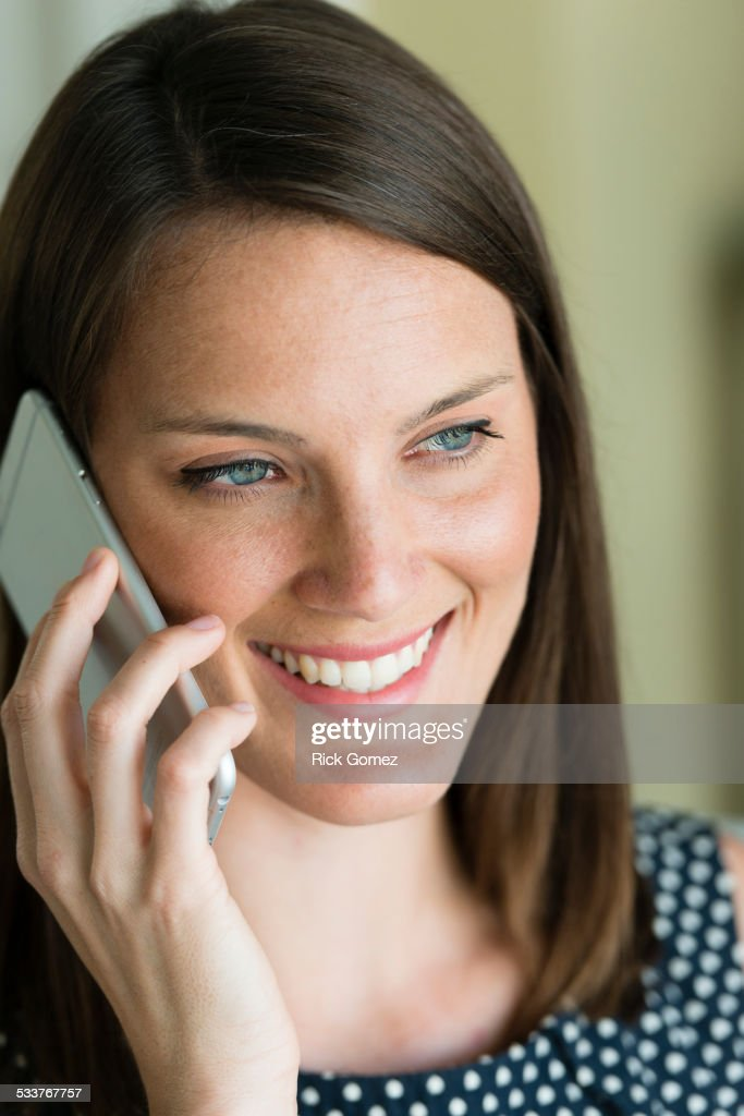 Caucasian woman talking on cell phone : Foto stock