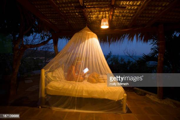 caucasian woman using digital tablet under mosquito net - mosquito net stock photos and pictures