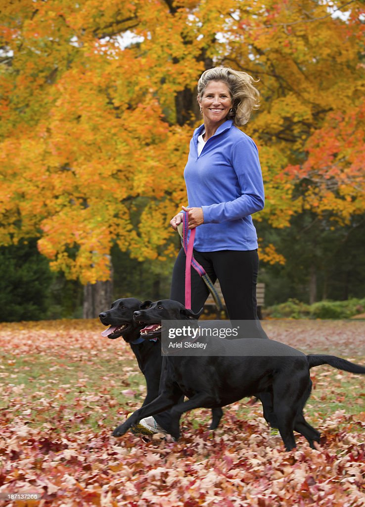 Caucasian woman walking dogs in park : Stock Photo
