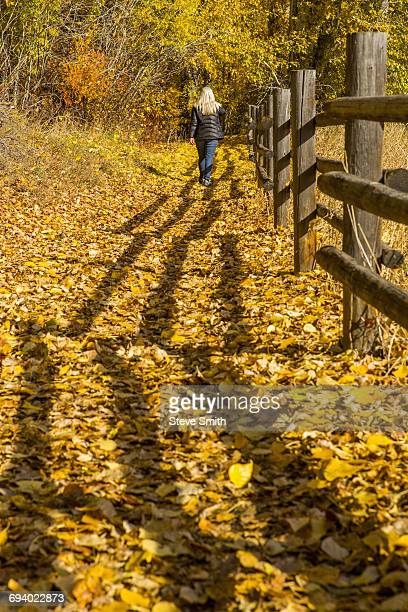 Caucasian woman walking near wooden fence in autumn