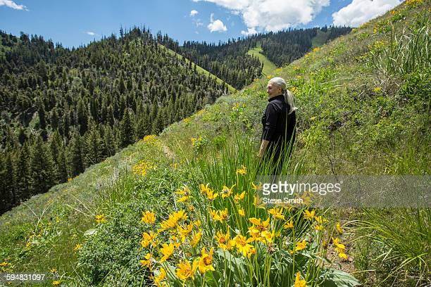 caucasian woman walking on remote hillside - sun valley idaho stock photos and pictures