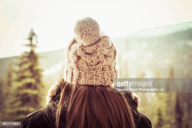 Caucasian woman wearing knit hat