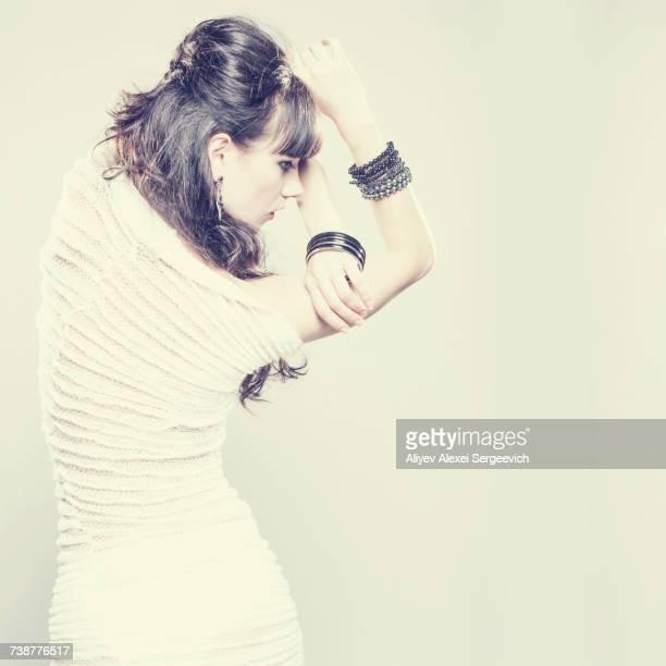 Caucasian woman wearing ribbed dress
