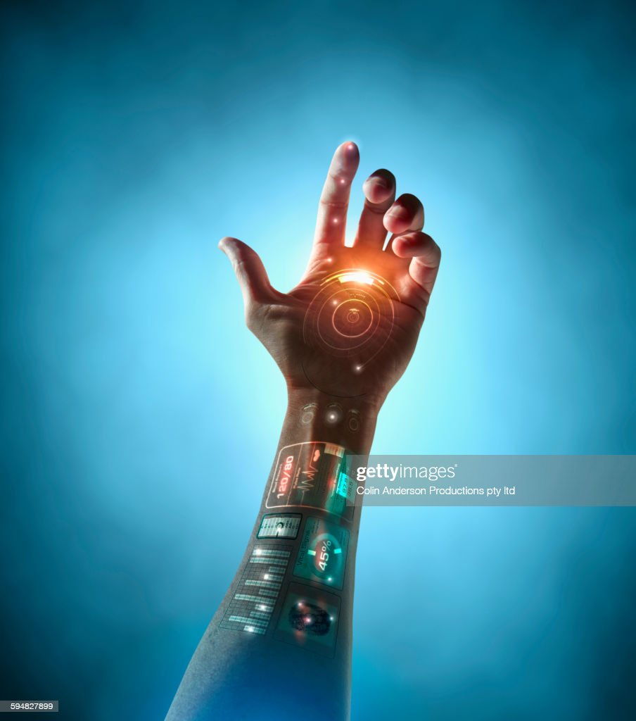 Caucasian woman with bionic technology : Stock Photo