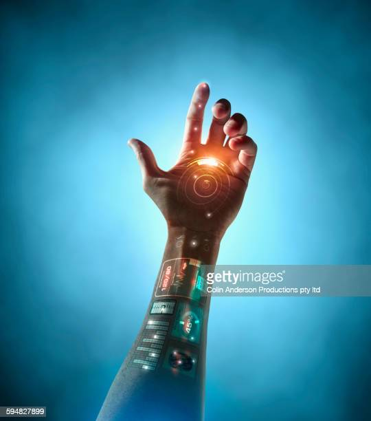 caucasian woman with bionic technology - android stock pictures, royalty-free photos & images