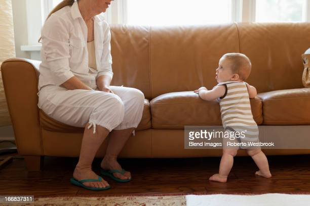 Caucasian woman with grandson