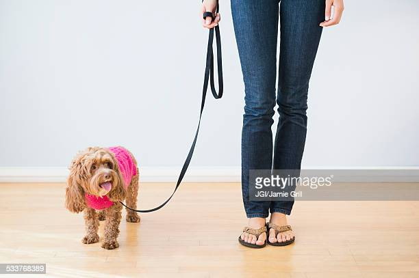 Caucasian woman with pet dog on leash