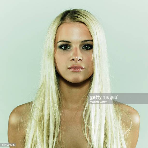 Caucasian woman with serious expression
