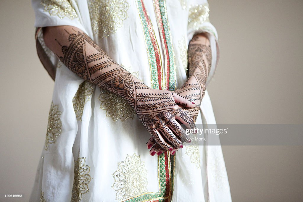 Caucasian Woman With Traditional Indian Wedding Clothing And Henna Tattoos Stock Photo