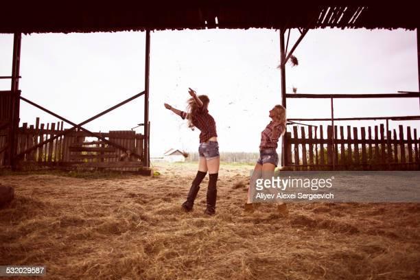 Caucasian women playing in hay in barn