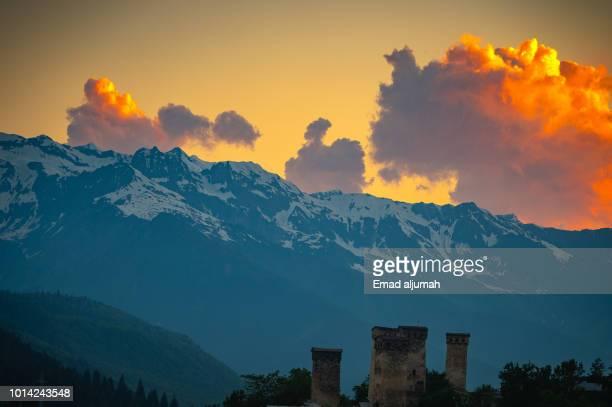 caucasus mountain near mestia, svenati region, georgia - コーカサス山脈 ストックフォトと画像