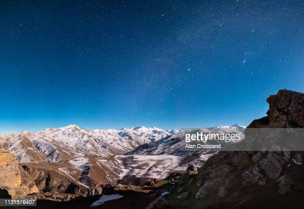 caucasus mountains under the stars - azerbaijan stock pictures, royalty-free photos & images