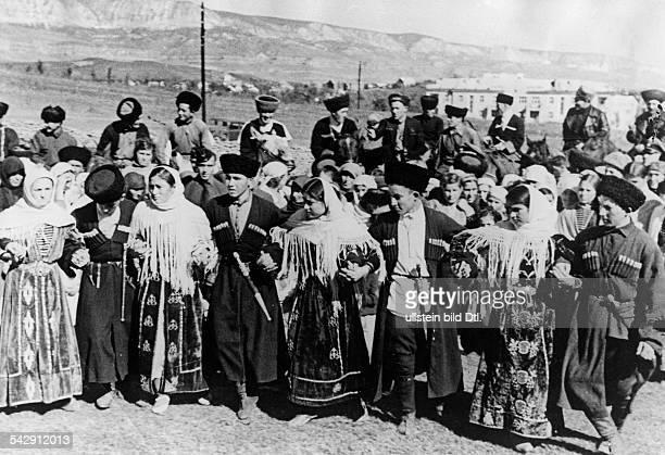 Caucasus Region, population - views: Karachayans performing a traditional dance. Uraza Bayran - October 1942 - Photographer: Presse-Illustrationen...