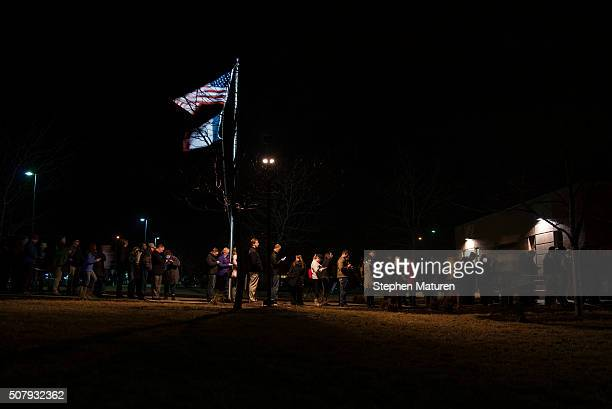 Caucus goers line up outside a Democrat Party caucus held at Maple Grove Elementary in West Des Moines Iowa According to the most recent Des Moines...