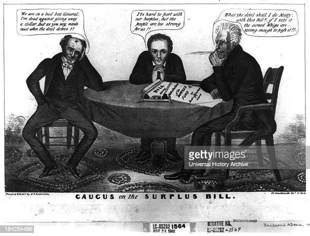Caucus on the Surplus Bill political cartoon satirizing Andrew Jackson's reluctant endorsement of the Distribution Act or Surplus Bill Jackson sits...
