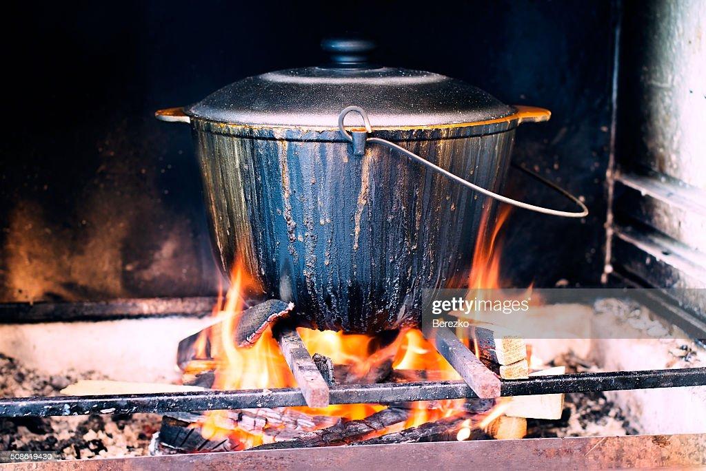 Cauldron on fire : Stock Photo