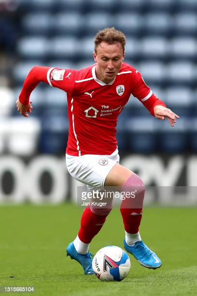 Cauley Woodrow of Barnsley during the Sky Bet Championship match between Preston North End and Barnsley at Deepdale on May 01, 2021 in Preston,...