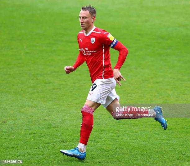 Cauley Woodrow of Barnsley during the Sky Bet Championship match between Barnsley and Norwich City at Oakwell Stadium on May 08, 2021 in Barnsley,...