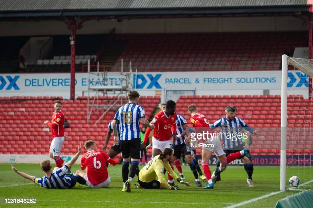 Cauley Woodrow of Barnsley has a goal ruled out during the SkyBet Championship match between Barnsley and Sheffield Wednesday at Oakwell, Barnsley on...