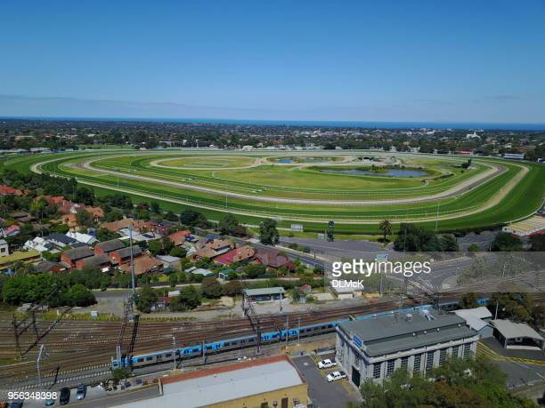 Caulfield race track and station.