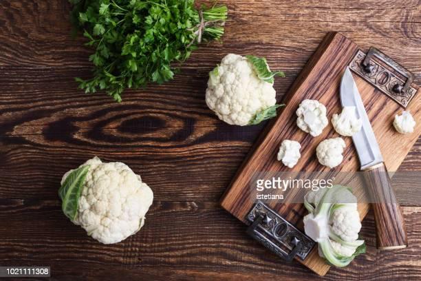 Cauliflower heads and chopped cauliflower