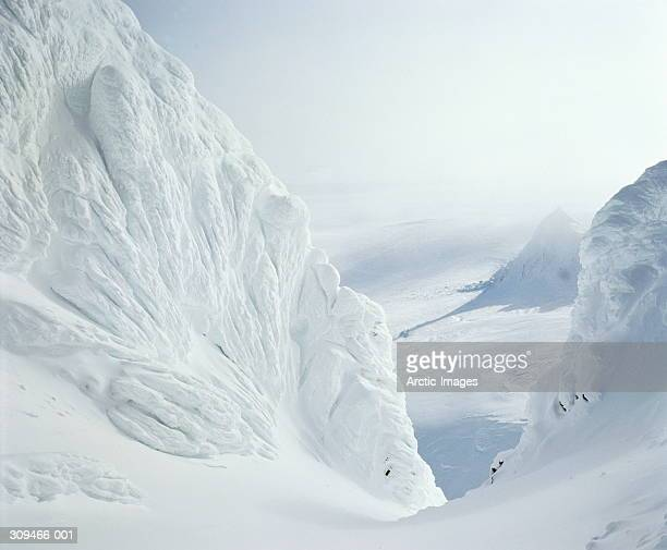 cauliflower ice formations in snow-covered landscape - polar climate stock pictures, royalty-free photos & images