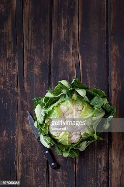 Cauliflower on dark wood