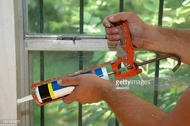 Caulking Gun in Action