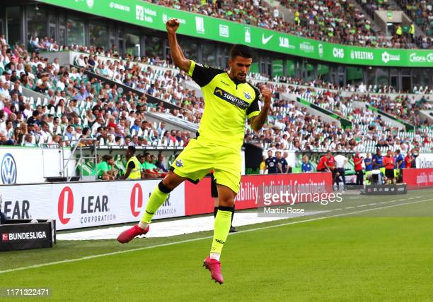 Cauly Oliveira Souza of SC Paderborn 07 celebrates after scoring his team's first goal during the Bundesliga match between VfL Wolfsburg and SC...