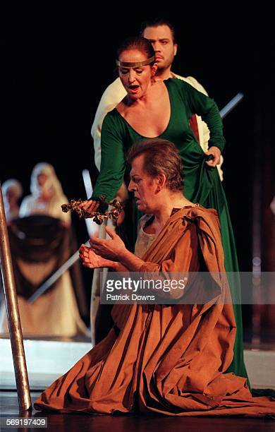 scene from Monteverdi's The Return of Ulysses an LA Opera production at the Dorothy Chandler HERE Ulysses played by Thomas Allenreceives a crown from...