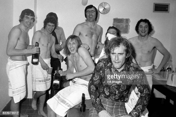 A cause for dressing room celebration at Stamford Bridge by West Ham United players after trhey defeated Ipswich Town Trevor Brookings Pat Holland...