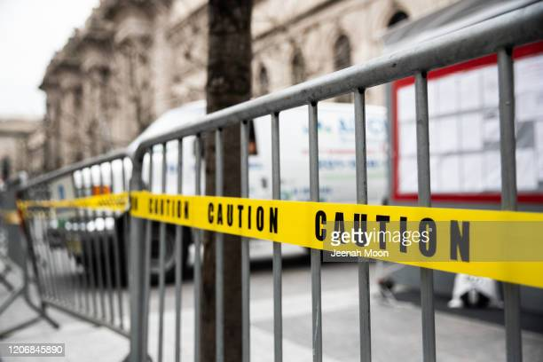 Caution tape and barriers are seen outside the Metropolitan Museum of Art on March 10, 2020 in New York City on March 12, 2020 in New York City. The...