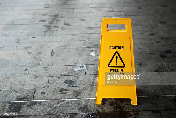 Caution, work in progress sign with copy space