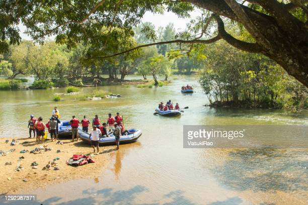 cauvery river rafting, india - karnataka stock pictures, royalty-free photos & images
