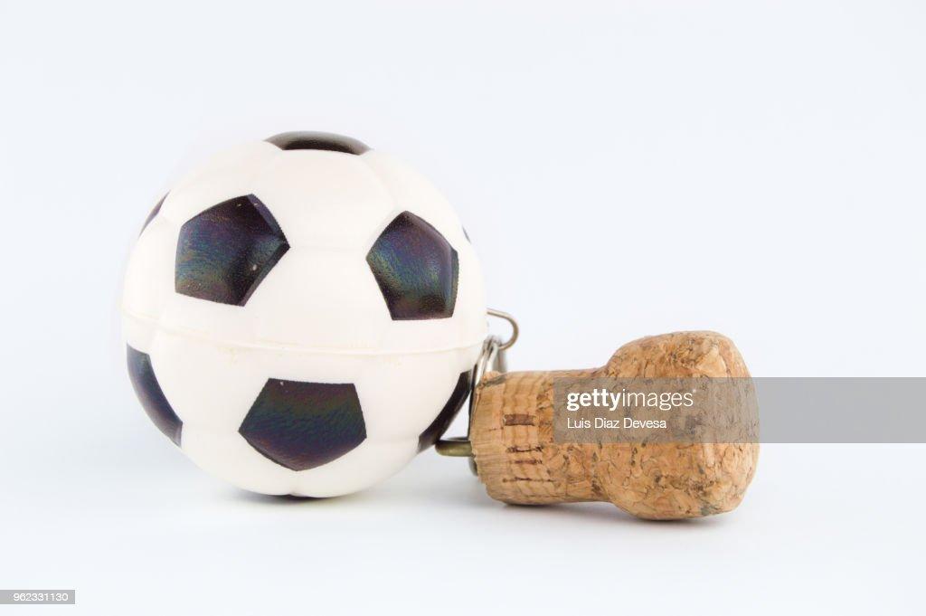 Cava cork keyring holding Ball : Stock Photo