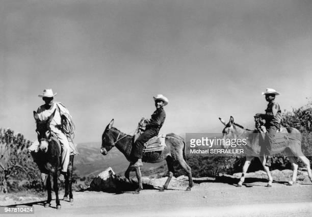 Cavaliers à dos d'âne sur la route de Taxco au Mexique