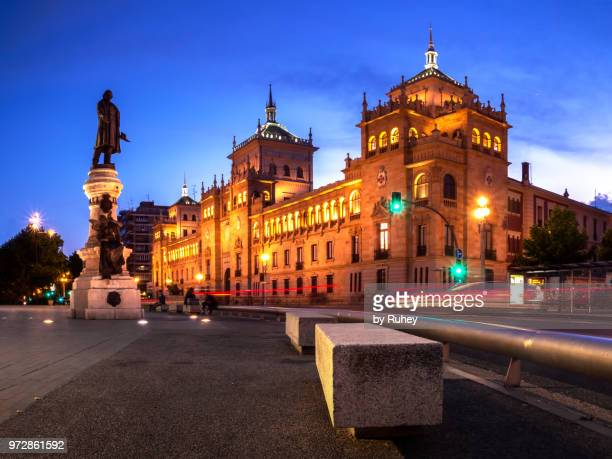 cavalry academy of valladolid at night (spain) - valladolid spanish city stock pictures, royalty-free photos & images
