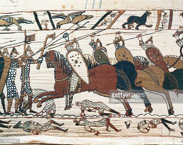 Cavalry at Hastings battlefield detail of Queen Mathilda's Tapestry or Bayeux Tapestry depicting Norman conquest of England in 1066 France 11th...