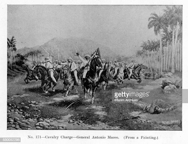 Cavalry charge led by General Antonio Maceo from a painting 1890s From the photo book 'Scenes in the Philippines Cuba Puerto Rico the Hawaiian...