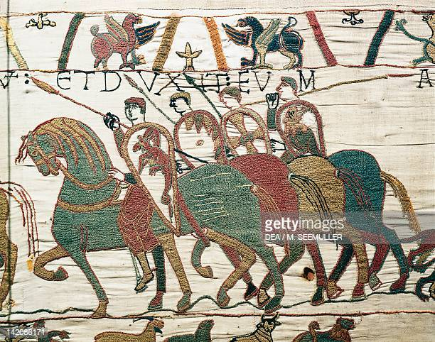 Cavalry detail of Queen Mathilda's Tapestry or Bayeux Tapestry depicting Norman conquest of England in 1066 France 11th century