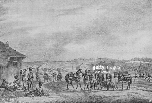 Cavalry of the French Imperial Guard of the Grande Armee in bivouac before the Battle of Vitebsk during the Napoleonic War of the Sixth Coalition on...