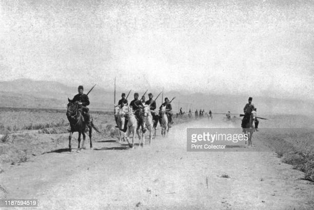 """Cavalry Patrol near Erzinjan', circa 1906-1913, . Mounted men in the valley of Erzinjan in Anatolia, . From """"The Caliphs' Last Heritage, a short..."""