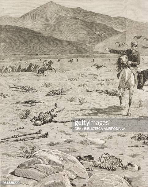 A cavalry reconnaissance to the battlefield where 800 black troops were killed by the rebels on the 4th of December 1883 the Rebellion in the Sudan...